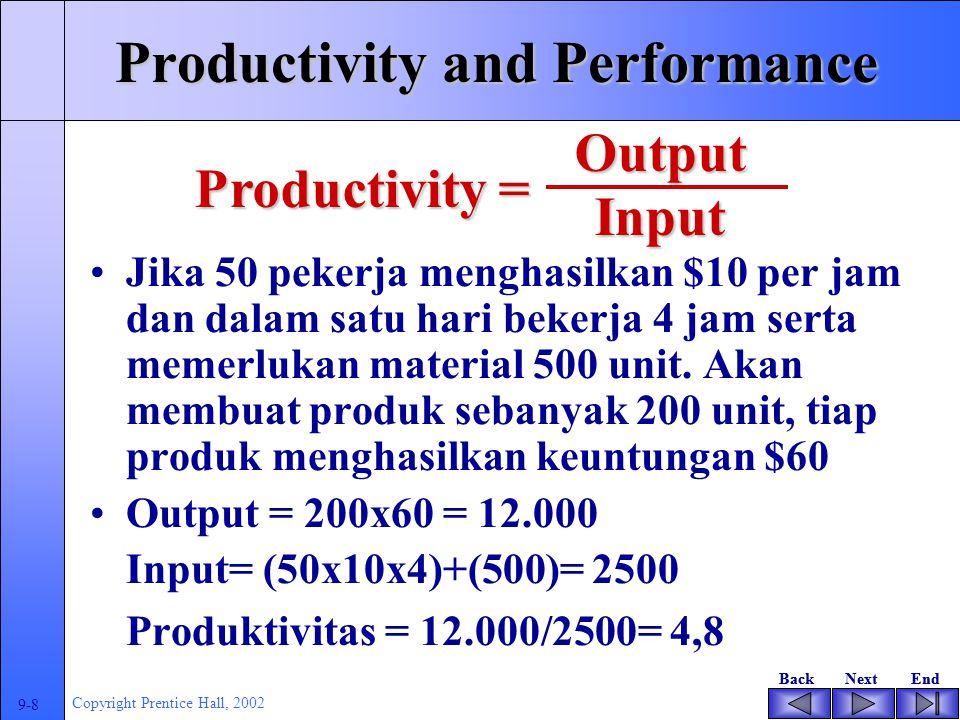 BackNextEndBackNextEnd 9-7 Copyright Prentice Hall, 2002 Productivity and Performance Apakah TI berkontribusi pada kinerja perusahaan .