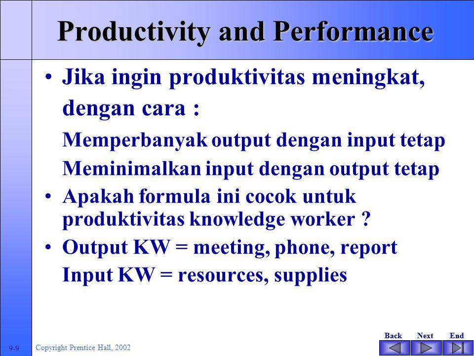 BackNextEndBackNextEnd 9-8 Copyright Prentice Hall, 2002 Productivity and Performance Jika 50 pekerja menghasilkan $10 per jam dan dalam satu hari bekerja 4 jam serta memerlukan material 500 unit.