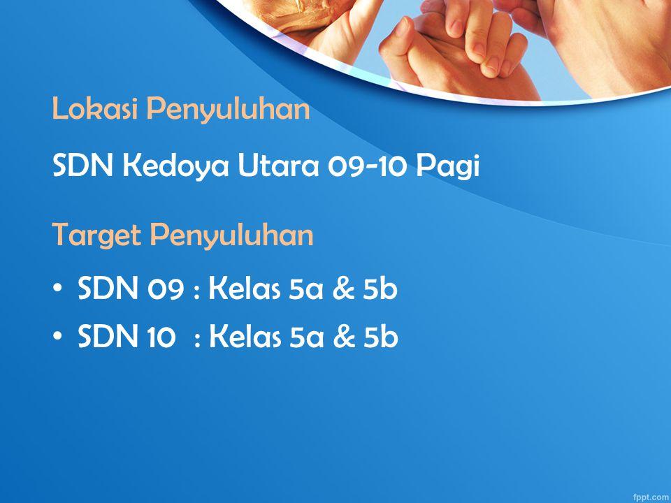 Lokasi Penyuluhan SDN 09 : Kelas 5a & 5b SDN 10 : Kelas 5a & 5b Target Penyuluhan SDN Kedoya Utara 09-10 Pagi