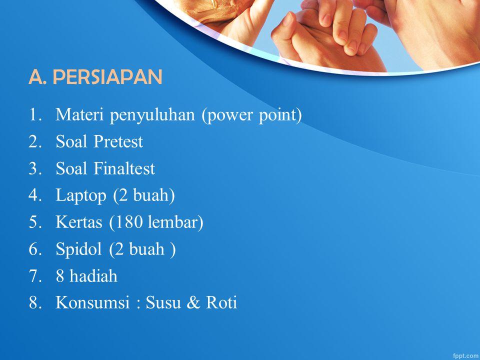A. PERSIAPAN 1.Materi penyuluhan (power point) 2.Soal Pretest 3.Soal Finaltest 4.Laptop (2 buah) 5.Kertas (180 lembar) 6.Spidol (2 buah ) 7.8 hadiah 8