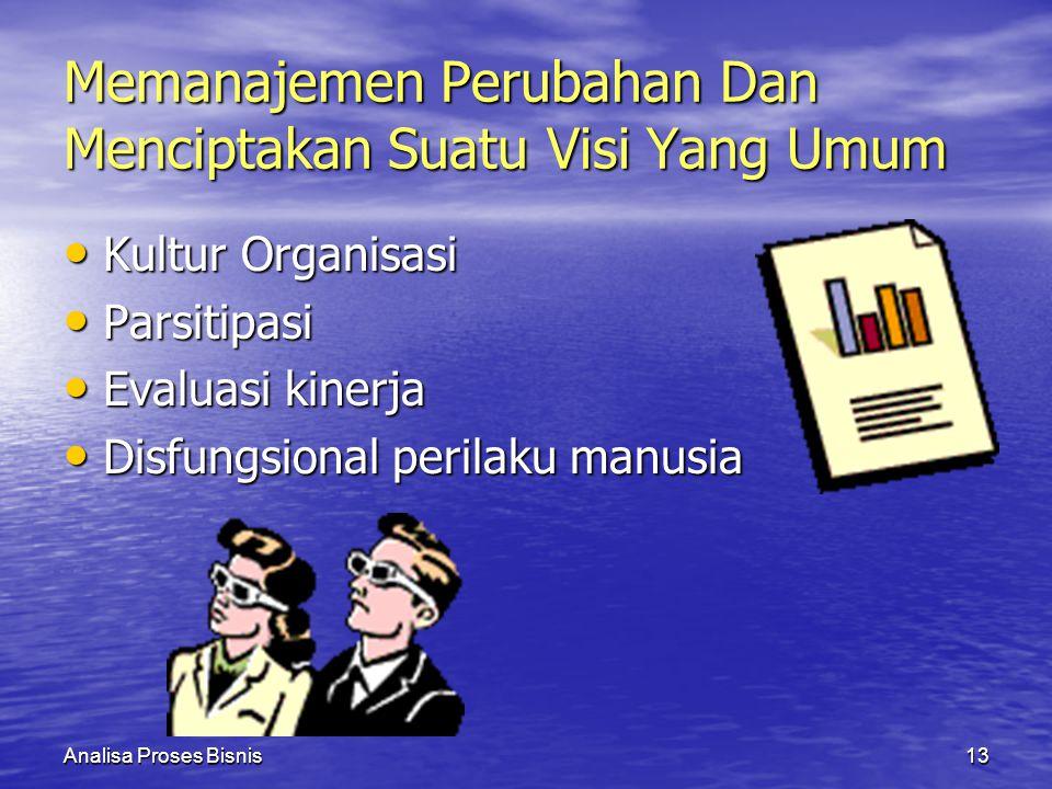 Analisa Proses Bisnis13 Memanajemen Perubahan Dan Menciptakan Suatu Visi Yang Umum Kultur Organisasi Kultur Organisasi Parsitipasi Parsitipasi Evaluas