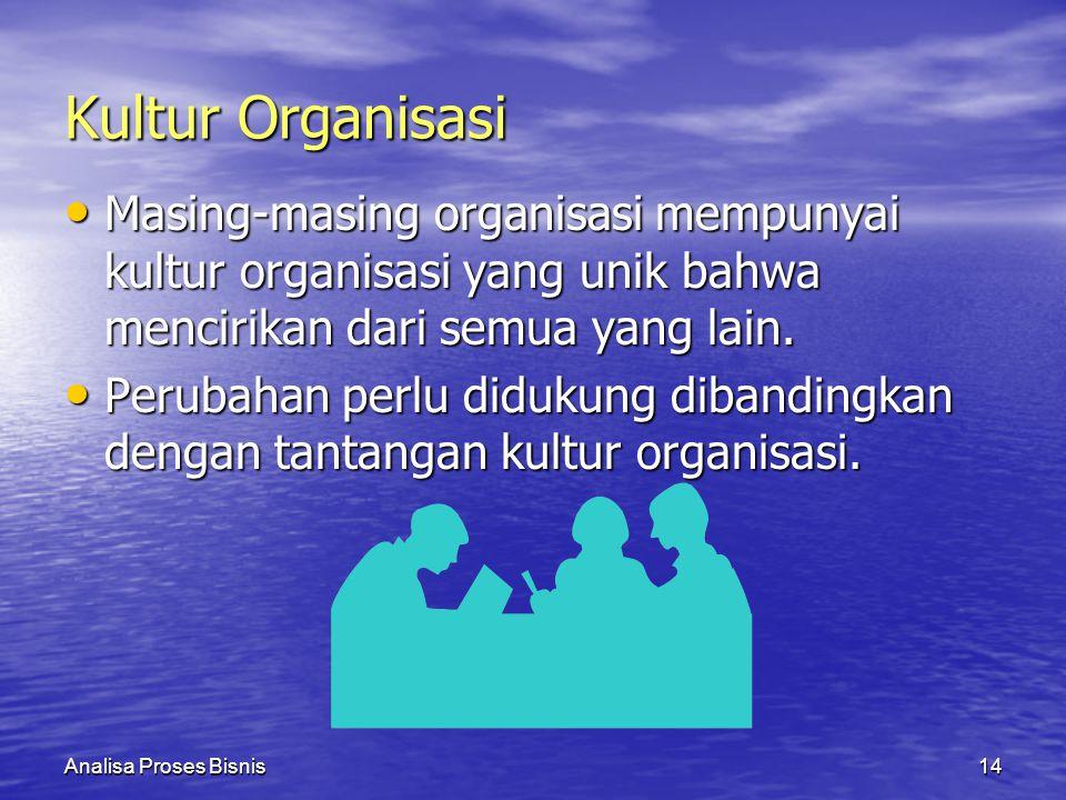 Analisa Proses Bisnis14 Kultur Organisasi Masing-masing organisasi mempunyai kultur organisasi yang unik bahwa mencirikan dari semua yang lain. Masing