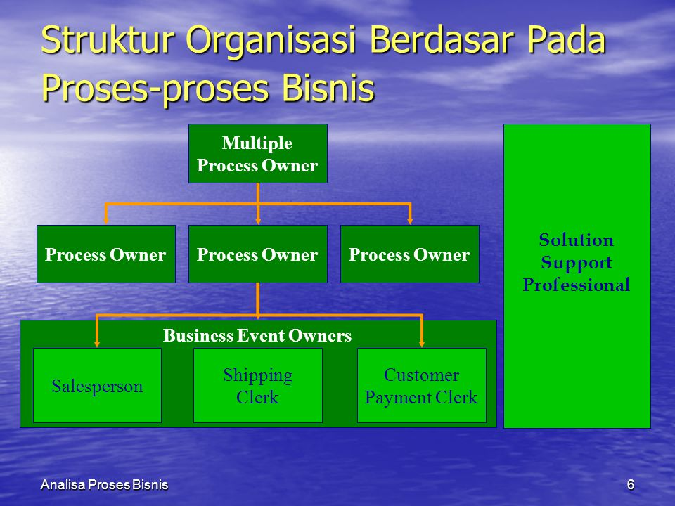 Analisa Proses Bisnis6 Business Event Owners Salesperson Shipping Clerk Customer Payment Clerk Solution Support Professional Process Owner Multiple Process Owner Process Owner Struktur Organisasi Berdasar Pada Proses-proses Bisnis