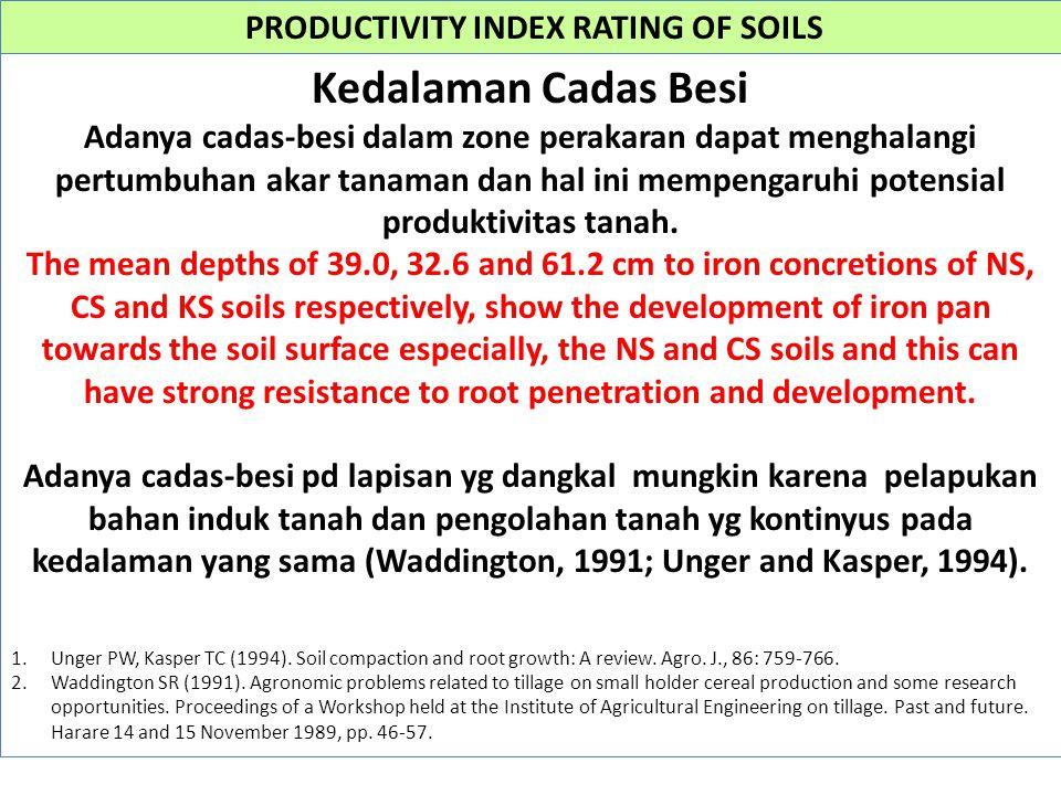 PRODUCTIVITY INDEX RATING OF SOILS Kedalaman Cadas Besi Adanya cadas-besi dalam zone perakaran dapat menghalangi pertumbuhan akar tanaman dan hal ini mempengaruhi potensial produktivitas tanah.