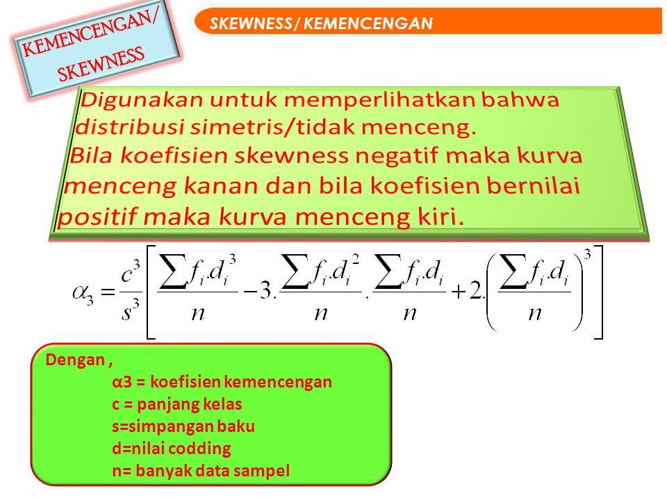 KEMENCENGAN/ SKEWNESS SKEWNESS/ KEMENCENGAN Dengan, α3 = koefisien kemencengan c = panjang kelas s=simpangan baku d=nilai codding n= banyak data sampe