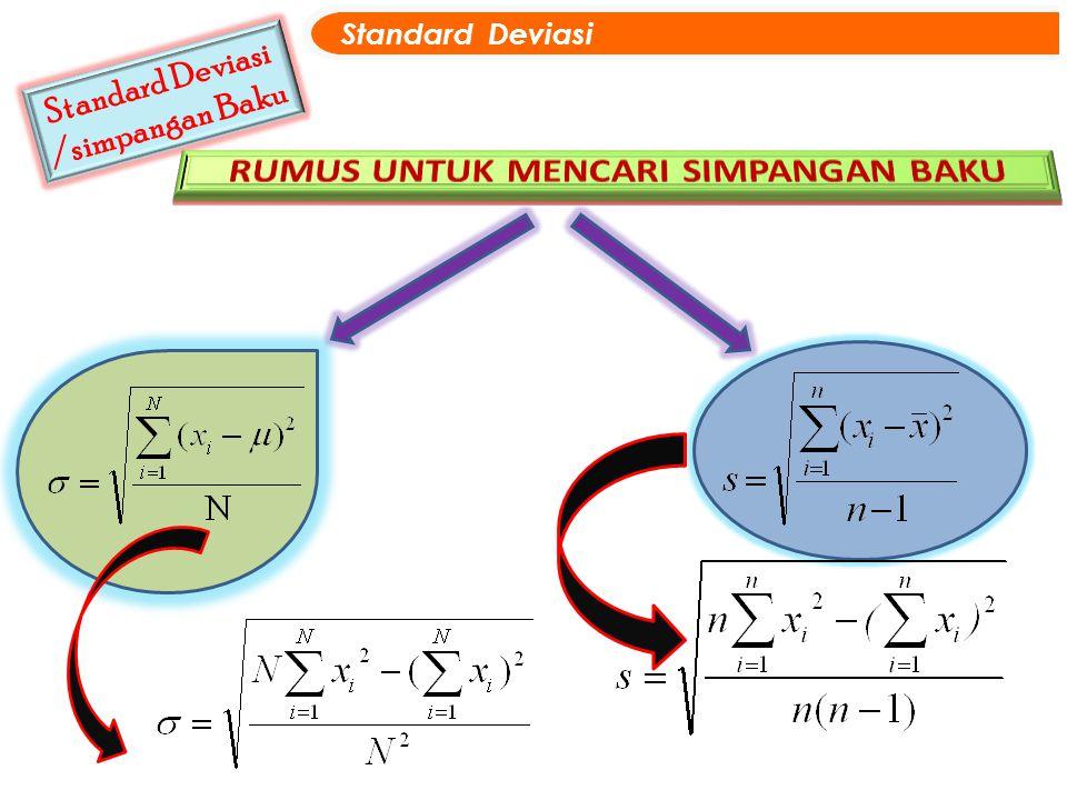 Standard Deviasi /simpangan Baku Standard Deviasi
