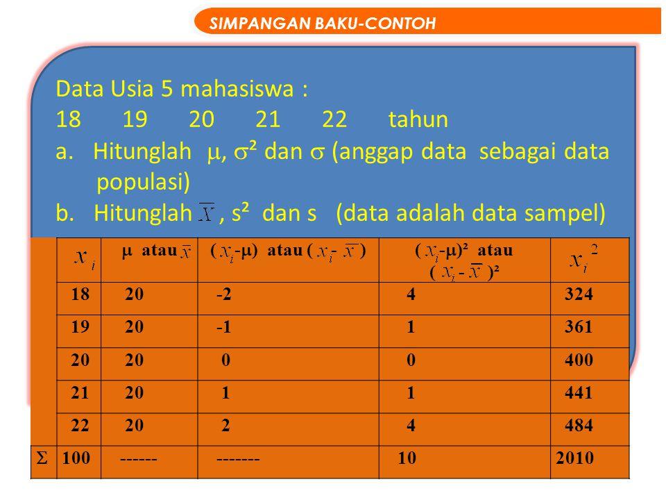 Data Usia 5 mahasiswa : 1819202122tahun a.Hitunglah ,  ² dan  (anggap data sebagai data populasi) b. Hitunglah, s² dan s (data adalah data sampel)
