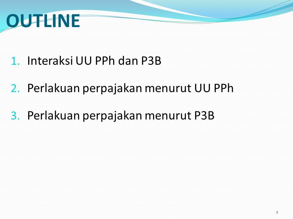 OUTLINE 1. Interaksi UU PPh dan P3B 2. Perlakuan perpajakan menurut UU PPh 3. Perlakuan perpajakan menurut P3B 2
