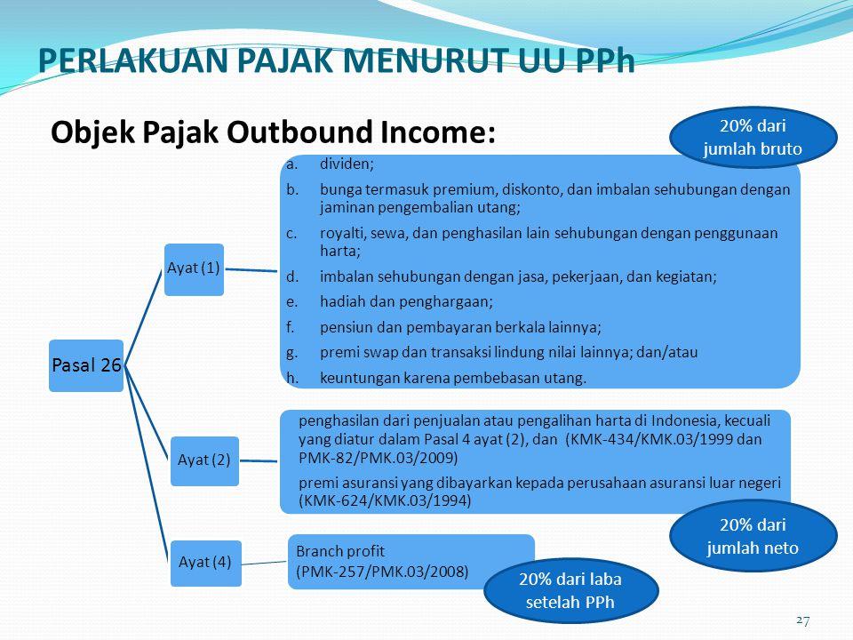 PERLAKUAN PAJAK MENURUT UU PPh Objek Pajak Outbound Income: Pasal 26 Ayat (1) a. dividen; b. bunga termasuk premium, diskonto, dan imbalan sehubungan