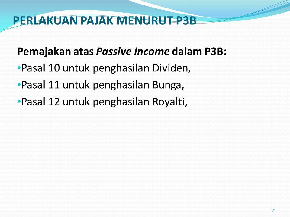 PERLAKUAN PAJAK MENURUT P3B Pemajakan atas Passive Income dalam P3B: Pasal 10 untuk penghasilan Dividen, Pasal 11 untuk penghasilan Bunga, Pasal 12 un