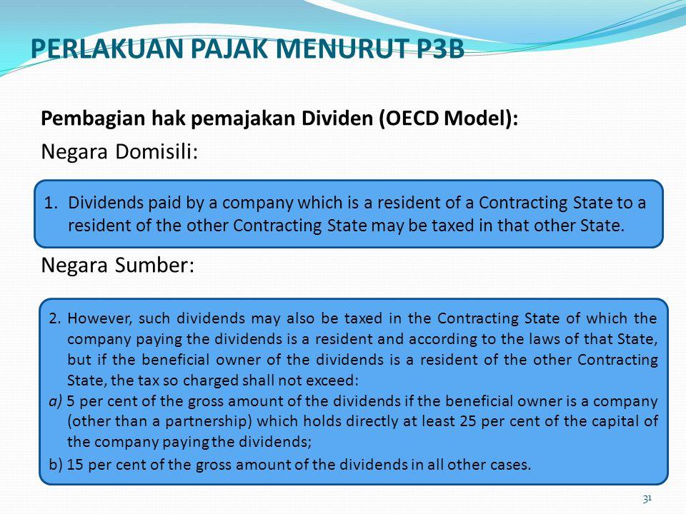 PERLAKUAN PAJAK MENURUT P3B Pembagian hak pemajakan Dividen (OECD Model): Negara Domisili: Negara Sumber: 1. Dividends paid by a company which is a re