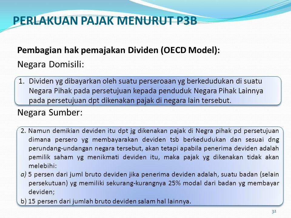 PERLAKUAN PAJAK MENURUT P3B Pembagian hak pemajakan Dividen (OECD Model): Negara Domisili: Negara Sumber: 1. Dividen yg dibayarkan oleh suatu perseroa