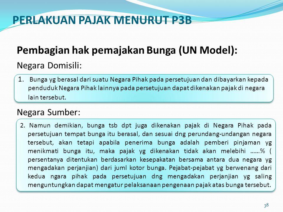 Pembagian hak pemajakan Bunga (UN Model): Negara Domisili: Negara Sumber: 1. Bunga yg berasal dari suatu Negara Pihak pada persetujuan dan dibayarkan