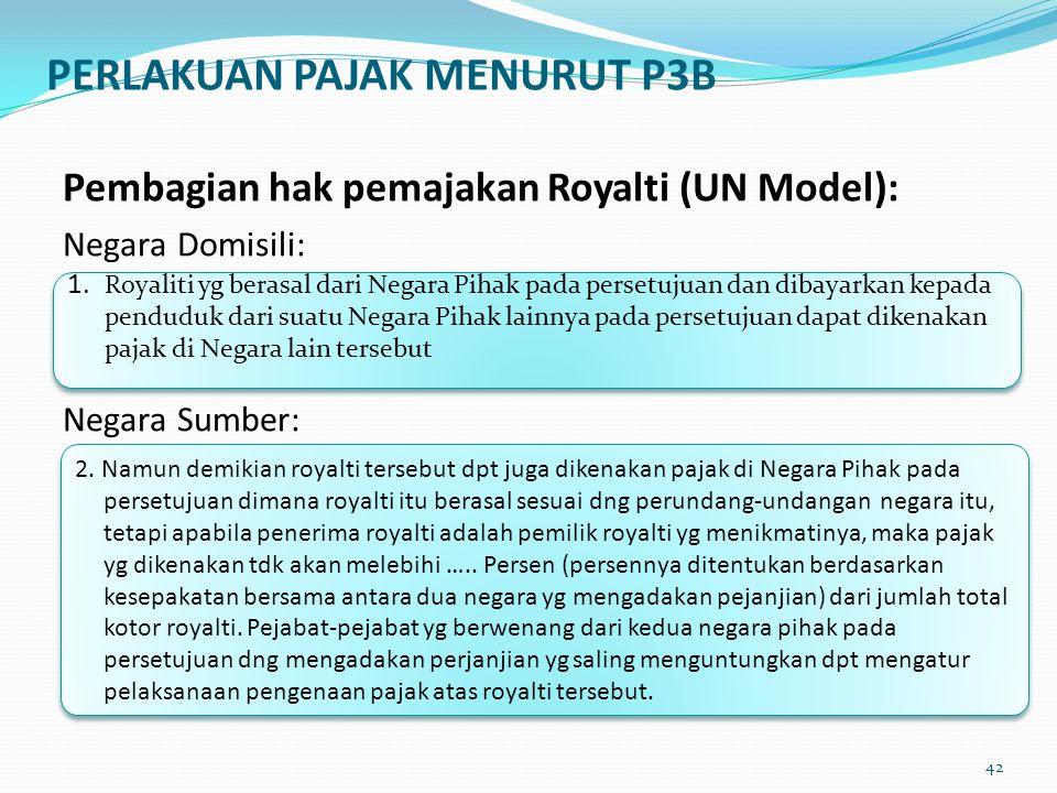 Pembagian hak pemajakan Royalti (UN Model): Negara Domisili: Negara Sumber: 1. Royaliti yg berasal dari Negara Pihak pada persetujuan dan dibayarkan k