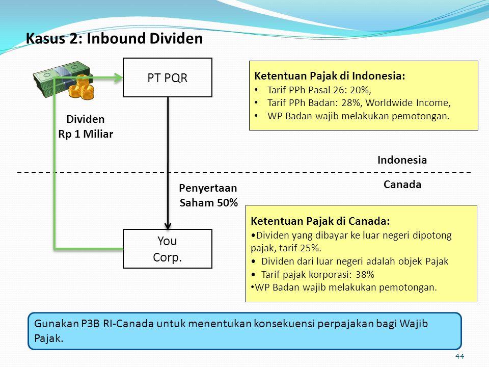 Kasus 2: Inbound Dividen Indonesia You Corp. Canada PT PQR Penyertaan Saham 50% Dividen Rp 1 Miliar Ketentuan Pajak di Indonesia: Tarif PPh Pasal 26: