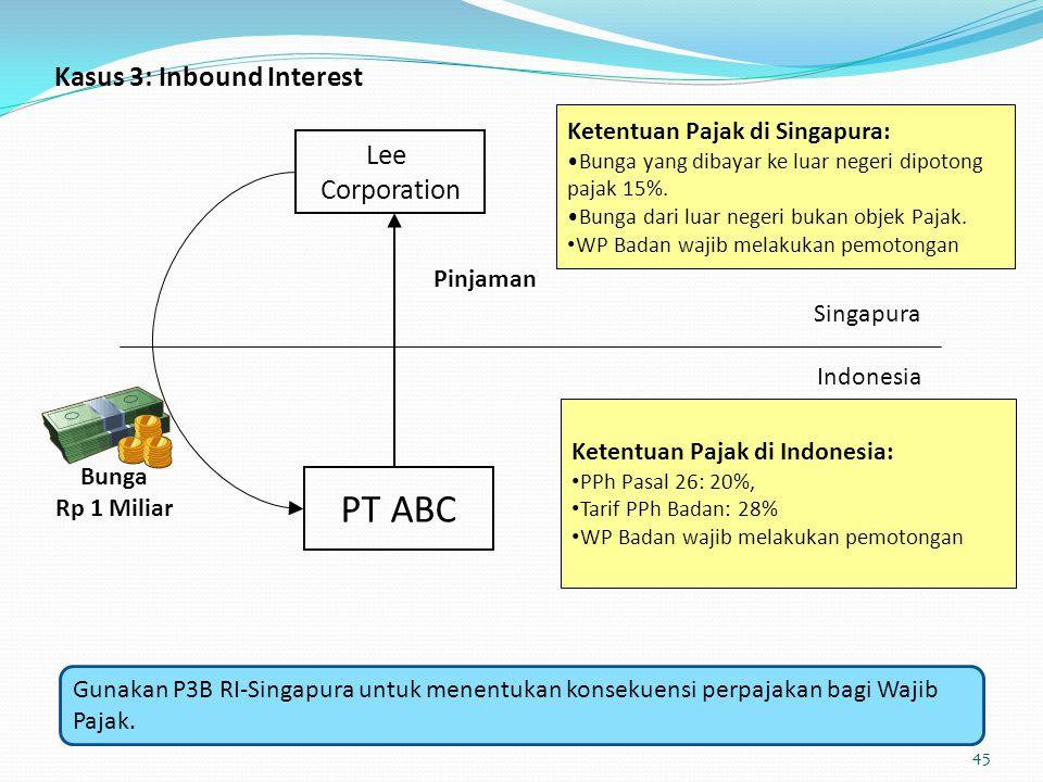 Kasus 3: Inbound Interest Indonesia PT ABC Singapura Lee Corporation Pinjaman Bunga Rp 1 Miliar Ketentuan Pajak di Singapura: Bunga yang dibayar ke lu