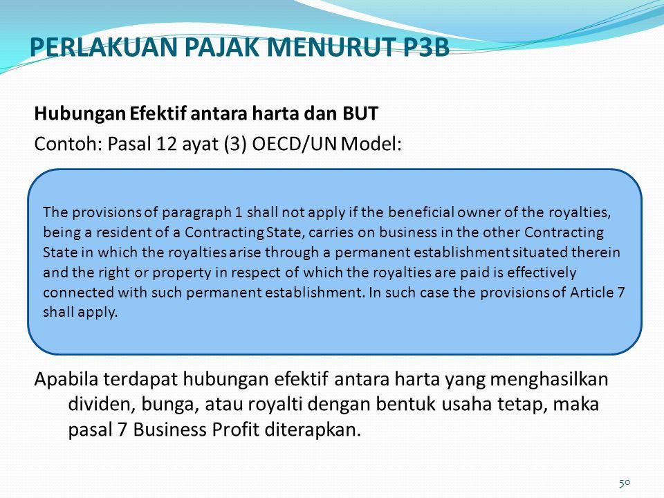 Hubungan Efektif antara harta dan BUT Contoh: Pasal 12 ayat (3) OECD/UN Model: Apabila terdapat hubungan efektif antara harta yang menghasilkan divide