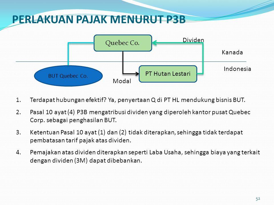 1. Terdapat hubungan efektif? Ya, penyertaan Q di PT HL mendukung bisnis BUT. 2. Pasal 10 ayat (4) P3B mengatribusi dividen yang diperoleh kantor pusa