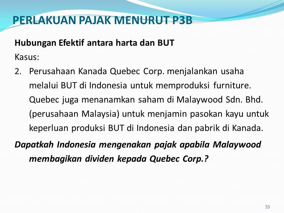 Hubungan Efektif antara harta dan BUT Kasus: 2. Perusahaan Kanada Quebec Corp. menjalankan usaha melalui BUT di Indonesia untuk memproduksi furniture.