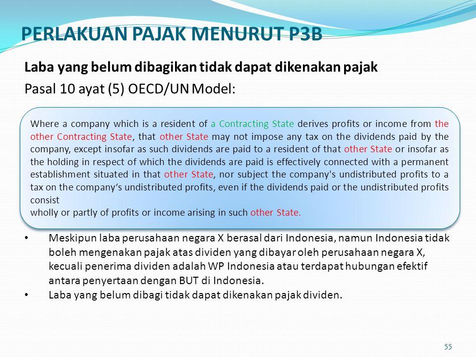 Laba yang belum dibagikan tidak dapat dikenakan pajak Pasal 10 ayat (5) OECD/UN Model: Meskipun laba perusahaan negara X berasal dari Indonesia, namun