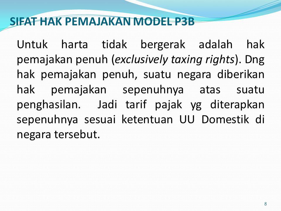 Negara X Potongan ……….% dapat mengenakan pajak tanpa pembatasan, sesuai ketentuan UU Dosmetik 9 Tanah dan/atau Bangunan Pembayaran sewa INDONESIA PT.