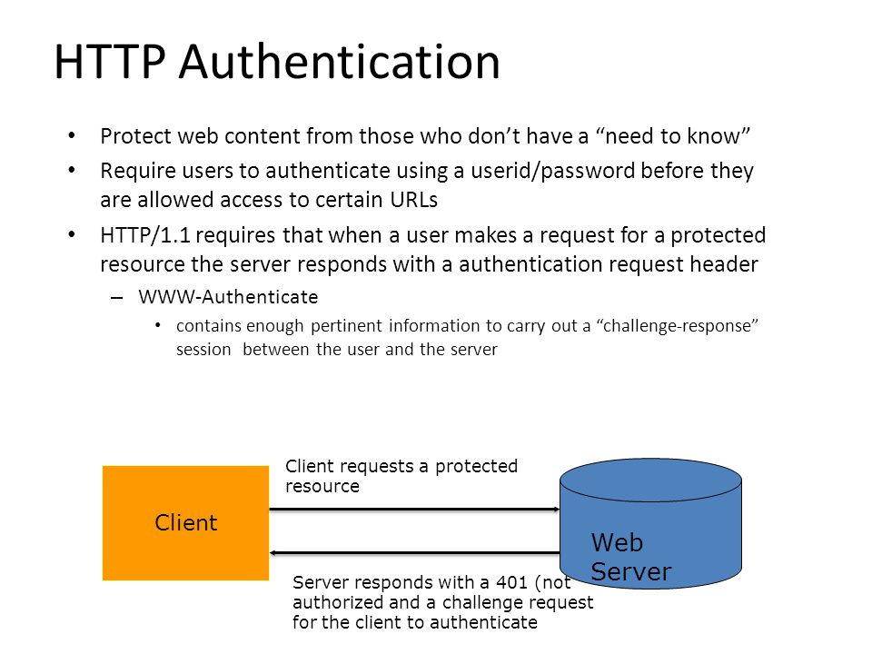 """HTTP Authentication Protect web content from those who don't have a """"need to know"""" Require users to authenticate using a userid/password before they a"""