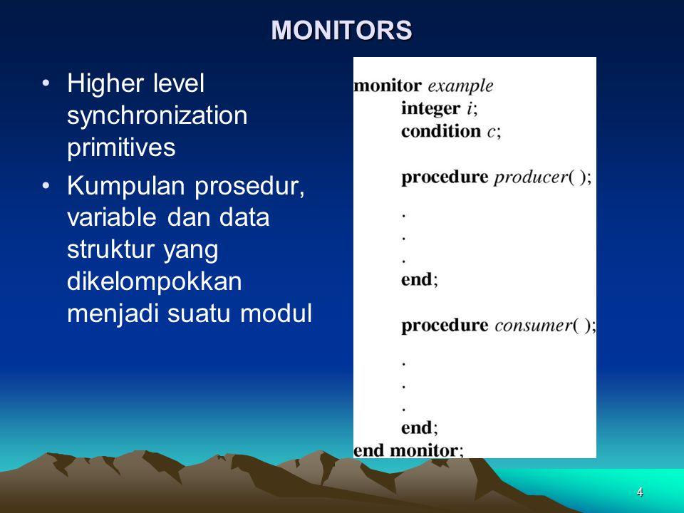 4 MONITORS Higher level synchronization primitives Kumpulan prosedur, variable dan data struktur yang dikelompokkan menjadi suatu modul