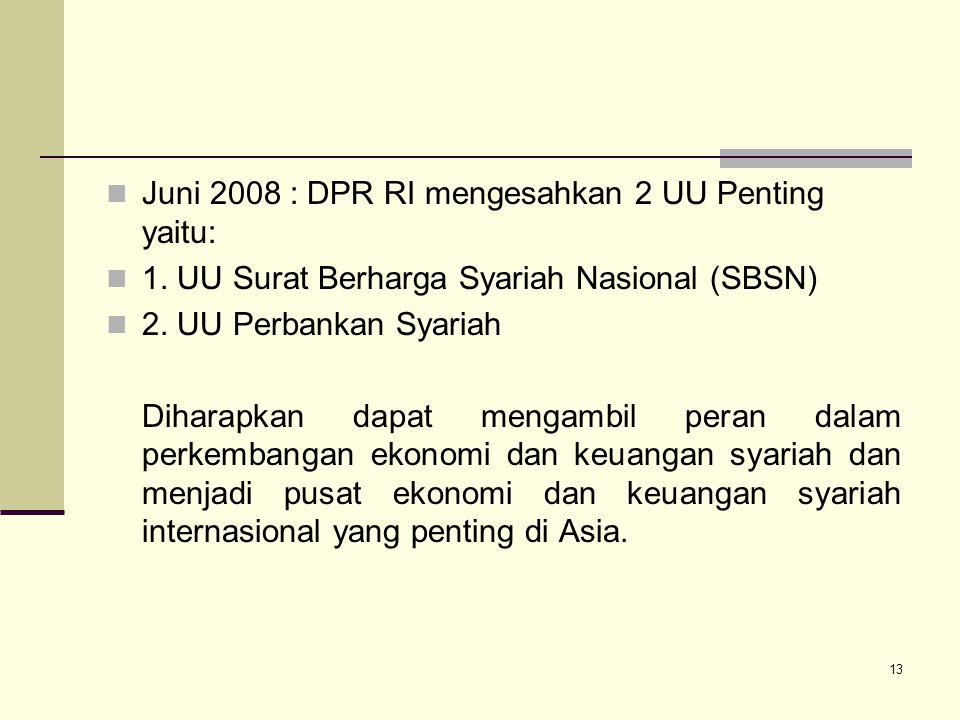 Juni 2008 : DPR RI mengesahkan 2 UU Penting yaitu: 1. UU Surat Berharga Syariah Nasional (SBSN) 2. UU Perbankan Syariah Diharapkan dapat mengambil per