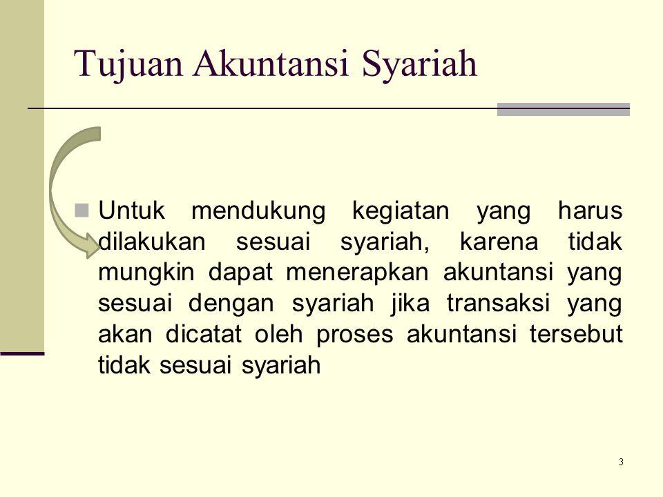 Tujuan Akuntansi Syariah Untuk mendukung kegiatan yang harus dilakukan sesuai syariah, karena tidak mungkin dapat menerapkan akuntansi yang sesuai den