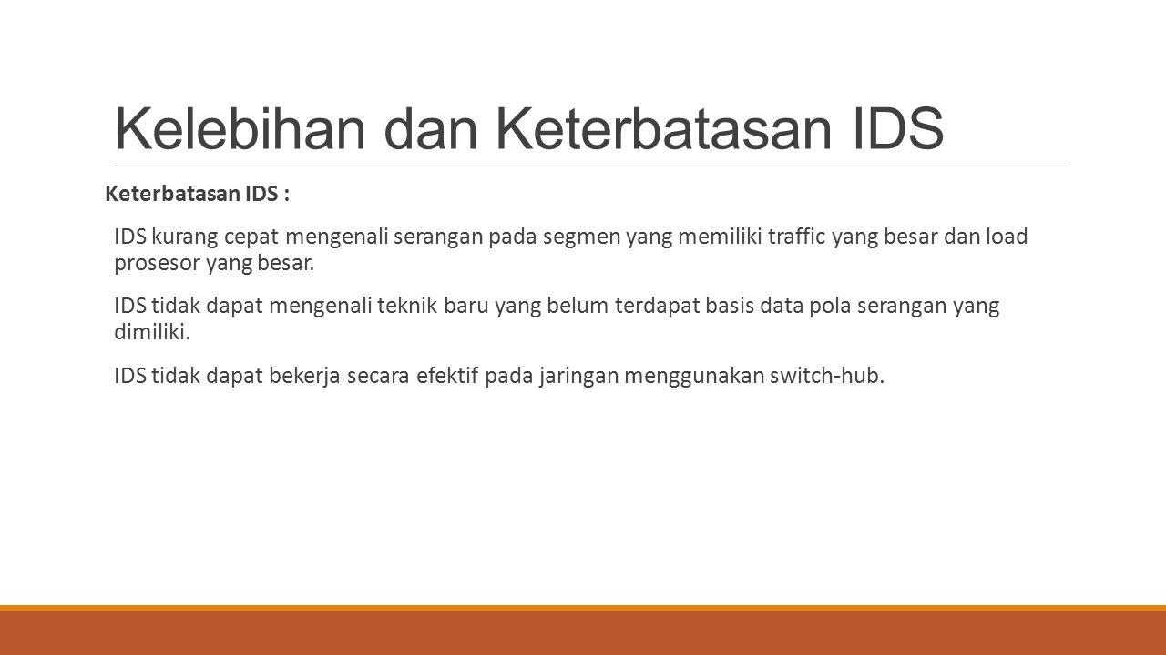 Kelebihan dan Keterbatasan IDS Keterbatasan IDS : IDS kurang cepat mengenali serangan pada segmen yang memiliki traffic yang besar dan load prosesor y