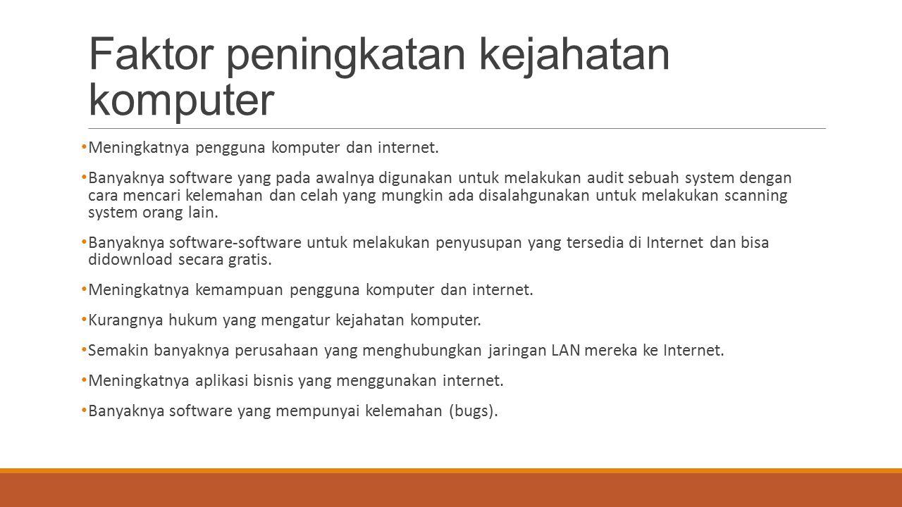 Faktor peningkatan kejahatan komputer Meningkatnya pengguna komputer dan internet. Banyaknya software yang pada awalnya digunakan untuk melakukan audi