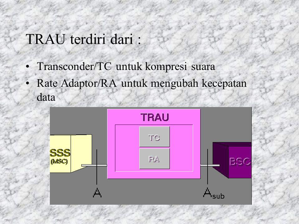 TRAU terdiri dari : Transconder/TC untuk kompresi suara Rate Adaptor/RA untuk mengubah kecepatan data