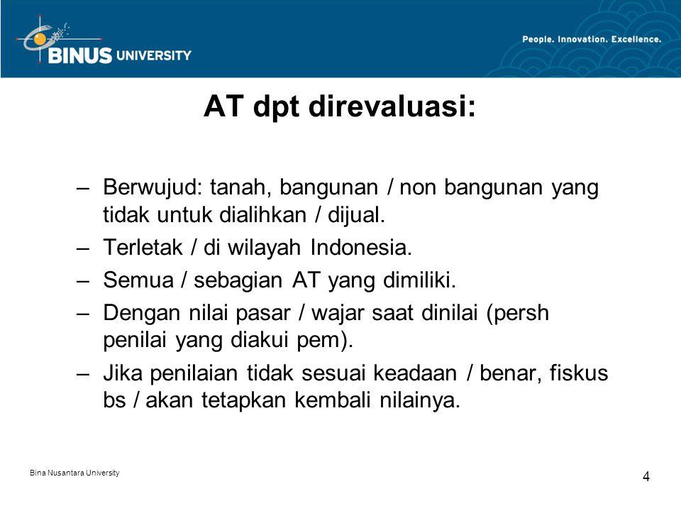 Bina Nusantara University 4 AT dpt direvaluasi: –Berwujud: tanah, bangunan / non bangunan yang tidak untuk dialihkan / dijual. –Terletak / di wilayah