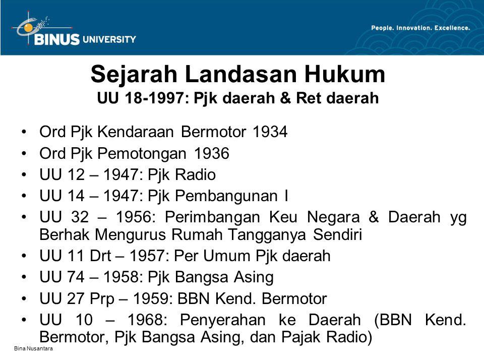 Bina Nusantara Sejarah Landasan Hukum UU 18-1997: Pjk daerah & Ret daerah Ord Pjk Kendaraan Bermotor 1934 Ord Pjk Pemotongan 1936 UU 12 – 1947: Pjk Ra