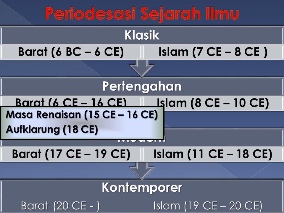 Kontemporer Barat (20 CE - )Islam (19 CE – 20 CE) Modern Barat (17 CE – 19 CE)Islam (11 CE – 18 CE) Pertengahan Barat (6 CE – 16 CE)Islam (8 CE – 10 C