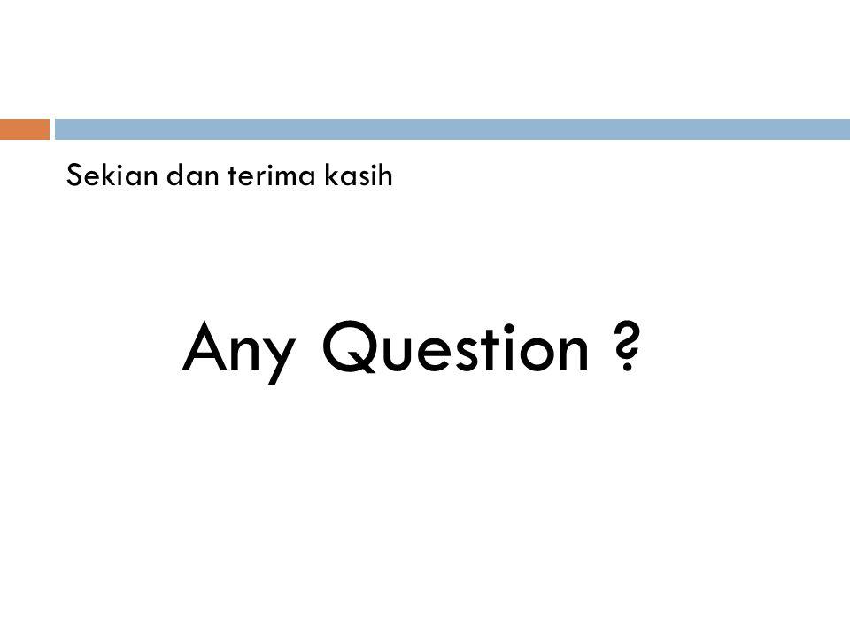 Sekian dan terima kasih Any Question ?