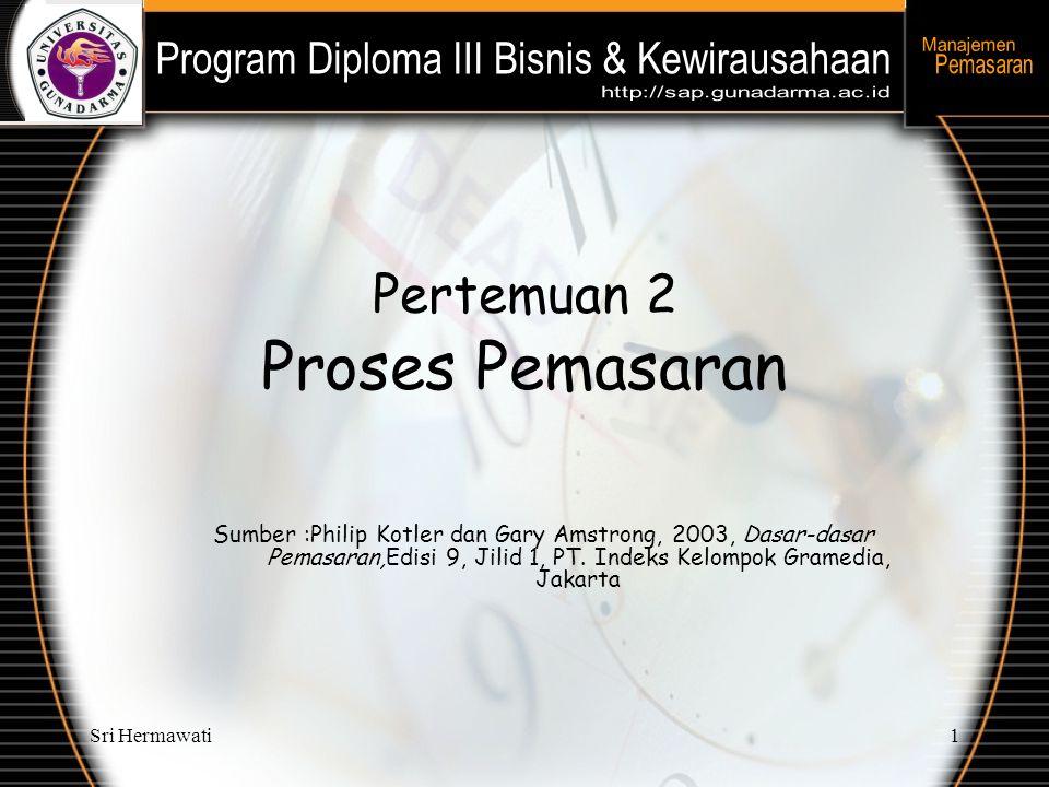 Sri Hermawati1 Pertemuan 2 Proses Pemasaran Sumber :Philip Kotler dan Gary Amstrong, 2003, Dasar-dasar Pemasaran,Edisi 9, Jilid 1, PT. Indeks Kelompok