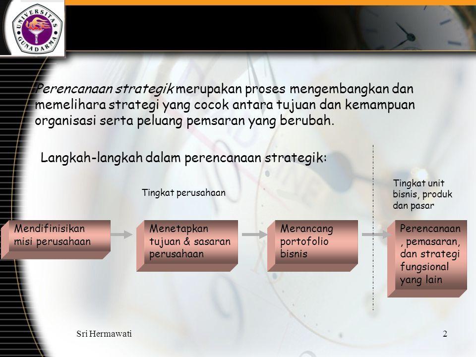Sri Hermawati2 Perencanaan strategik merupakan proses mengembangkan dan memelihara strategi yang cocok antara tujuan dan kemampuan organisasi serta pe