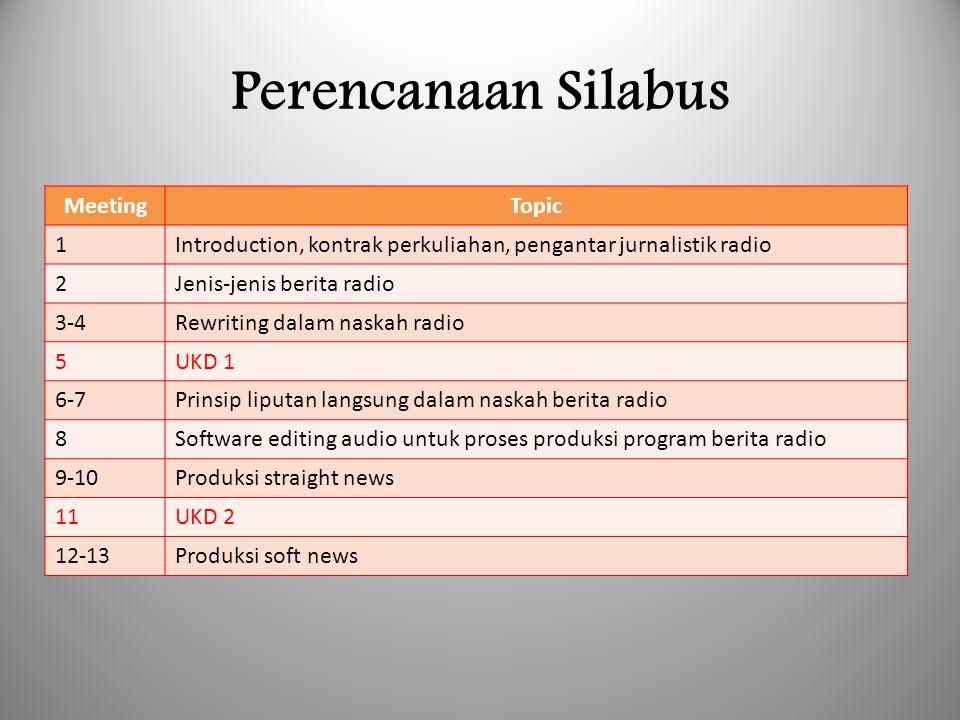 Perencanaan Silabus MeetingTopic 1Introduction, kontrak perkuliahan, pengantar jurnalistik radio 2Jenis-jenis berita radio 3-4Rewriting dalam naskah r