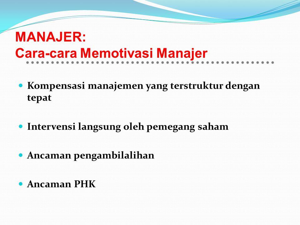 MANAJER: Cara-cara Memotivasi Manajer Kompensasi manajemen yang terstruktur dengan tepat Intervensi langsung oleh pemegang saham Ancaman pengambilalih