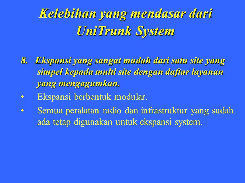 Kelebihan yang mendasar dari UniTrunk System 8. Ekspansi yang sangat mudah dari satu site yang simpel kepada multi site dengan daftar layanan yang men