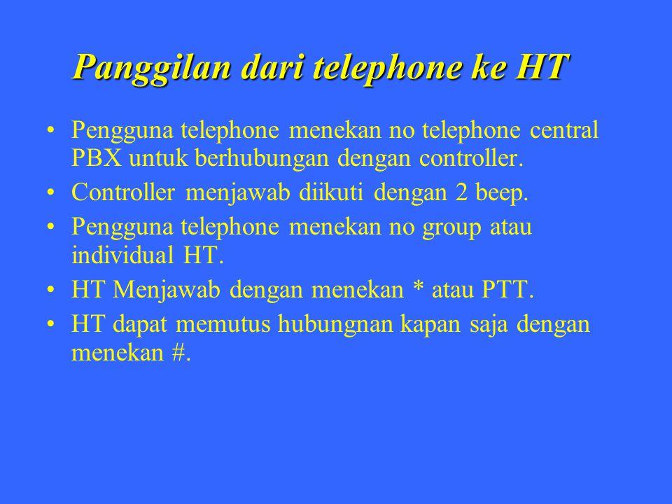 Panggilan dari telephone ke HT Pengguna telephone menekan no telephone central PBX untuk berhubungan dengan controller. Controller menjawab diikuti de