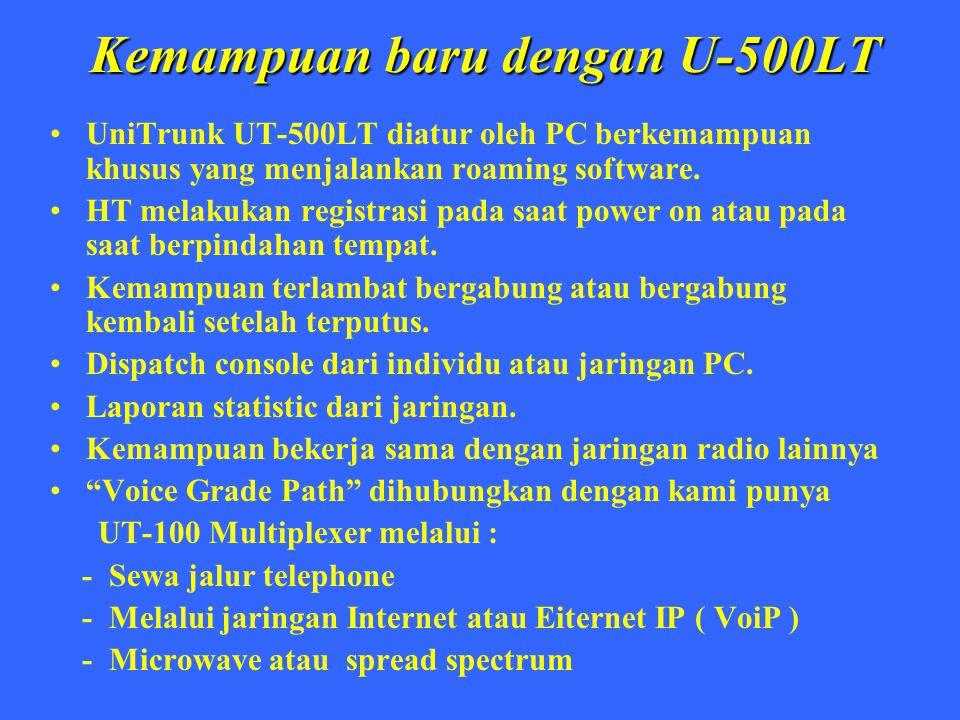 Kemampuan baru dengan U-500LT UniTrunk UT-500LT diatur oleh PC berkemampuan khusus yang menjalankan roaming software. HT melakukan registrasi pada saa