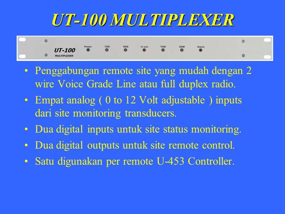 UT-100 MULTIPLEXER Penggabungan remote site yang mudah dengan 2 wire Voice Grade Line atau full duplex radio. Empat analog ( 0 to 12 Volt adjustable )