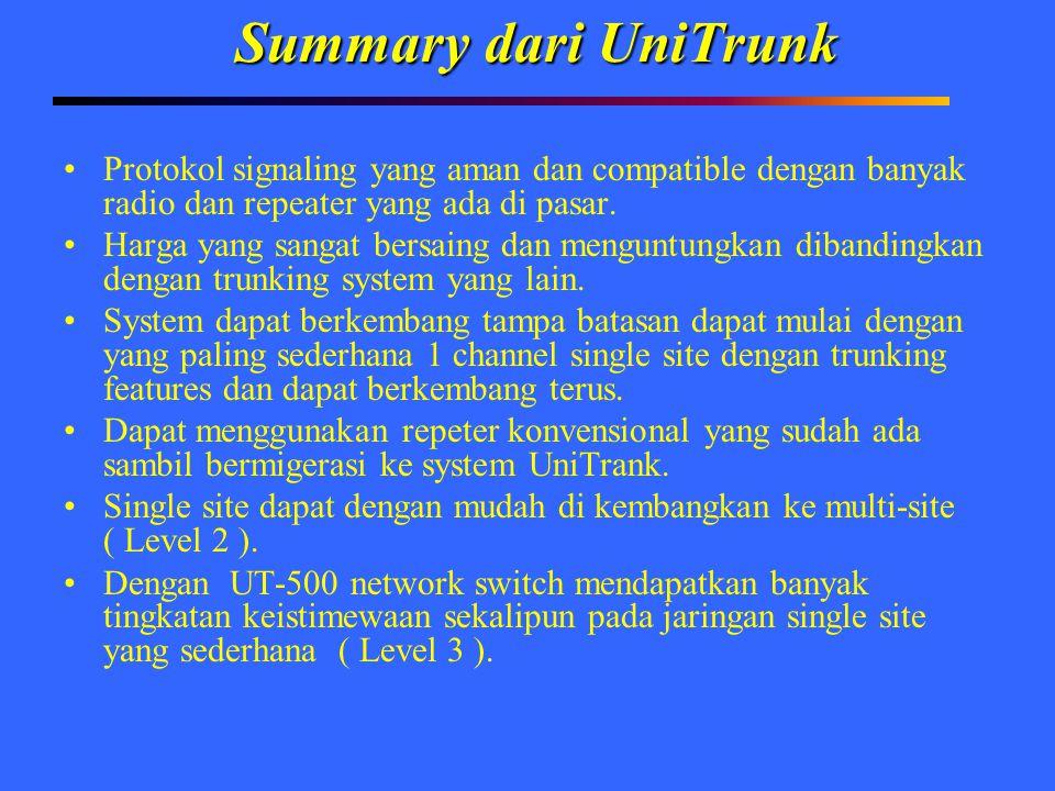 Summary dari UniTrunk Protokol signaling yang aman dan compatible dengan banyak radio dan repeater yang ada di pasar. Harga yang sangat bersaing dan m