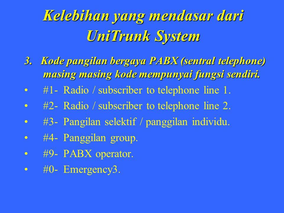 Kelebihan yang mendasar dari UniTrunk System 3. Kode pangilan bergaya PABX (sentral telephone) masing masing kode mempunyai fungsi sendiri. #1- Radio