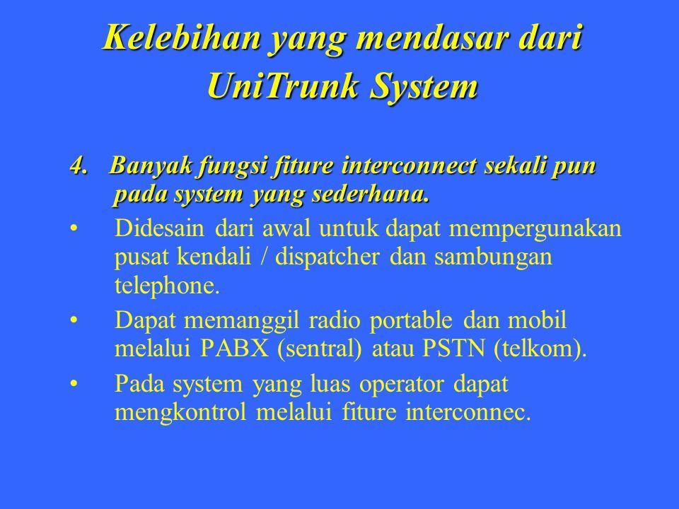 Kelebihan yang mendasar dari UniTrunk System 4. Banyak fungsi fiture interconnect sekali pun pada system yang sederhana. Didesain dari awal untuk dapa