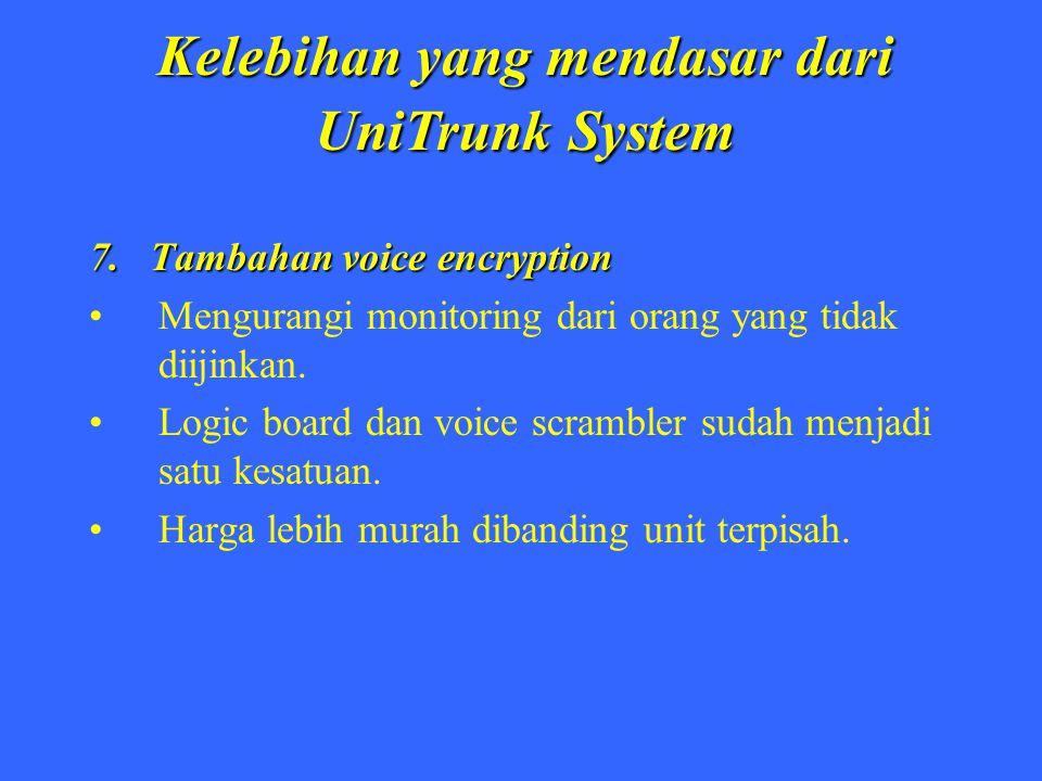 Kelebihan yang mendasar dari UniTrunk System 7. Tambahan voice encryption Mengurangi monitoring dari orang yang tidak diijinkan. Logic board dan voice