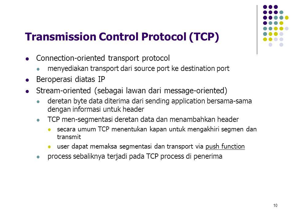 10 Transmission Control Protocol (TCP) Connection-oriented transport protocol menyediakan transport dari source port ke destination port Beroperasi di