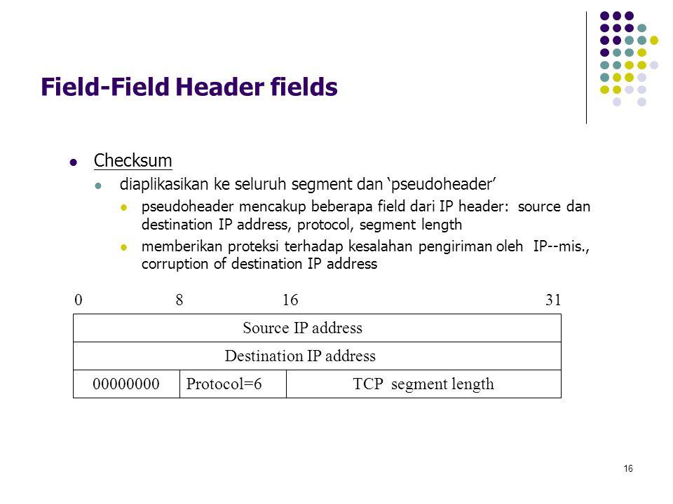 16 Field-Field Header fields Checksum diaplikasikan ke seluruh segment dan 'pseudoheader' pseudoheader mencakup beberapa field dari IP header: source